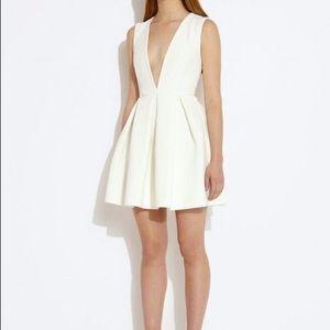 AQAQ white mini dress with open back and deep V